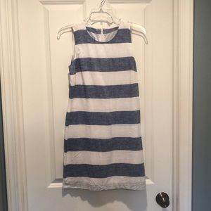 NWOT island company linen blue stripe dress XS